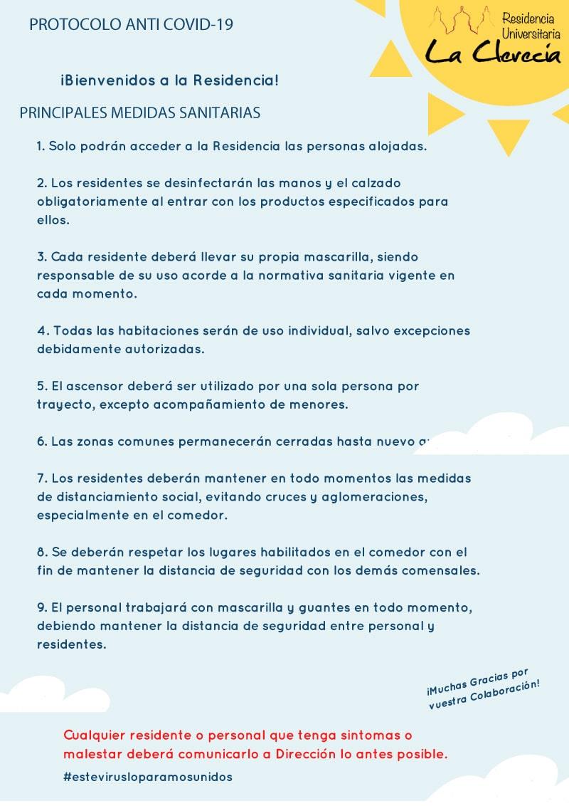 Información Covid-19 en residencia universitaria en Salamanca